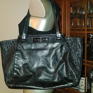 Elliott Lucca Pebbled and Woven Leather Tote